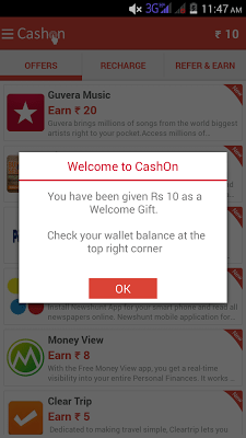 Download The CashOn App and Get Rs 10 Free Recharge Wallet