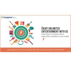 Freecharge Wallet Hungma Music 100% cashback (upto Rs. 99)