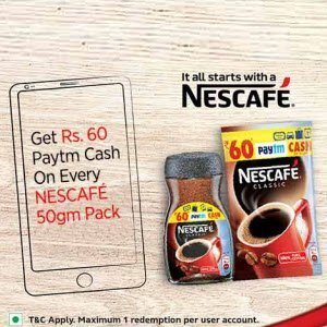Paytm Nescafe offer Free Wallet Rs. 60 cash on 50g Coffee Pack