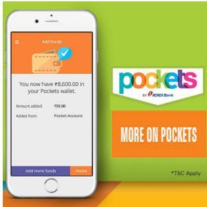 ICICI Bank Pockets wallet extra Rs. 50 on Adding Rs. 250