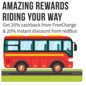 RedBus 20% off + 20% Cashback with FreeCharge Wallet