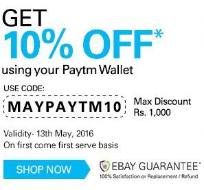 Pay With Paytm Wallet Ebay Offers : 10% OFF on All Orders