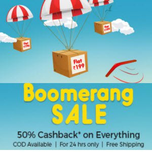 Shopclues Boomerang Sale Product Rs. 199 + Rs. 102 Cashback