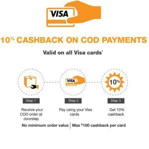 Amazon Order COD get 10% Cashback using VISA Card