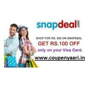 Snapdeal Flat Rs 100 OFF on Rs 500 App with your Visa Card