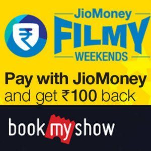 Pay with JioMoney BookMyShow Rs. 100 cashback on Rs. 100 with
