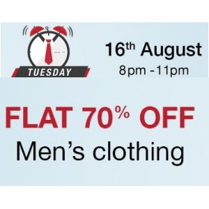 Amazon Tuesday Timeout – Men's Clothing Flat 70% off [8PM – 11PM]