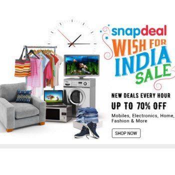 Snapdeal Wish For India Independence Day Sale UP TO 70% OFF
