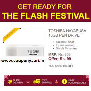 Toshiba Hayabusa 16GB Pen Drive Rs. 99 – Ebay (New Users)